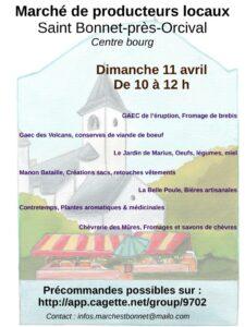 Marché de Saint Bonnet près Orcival 11 avril 2021